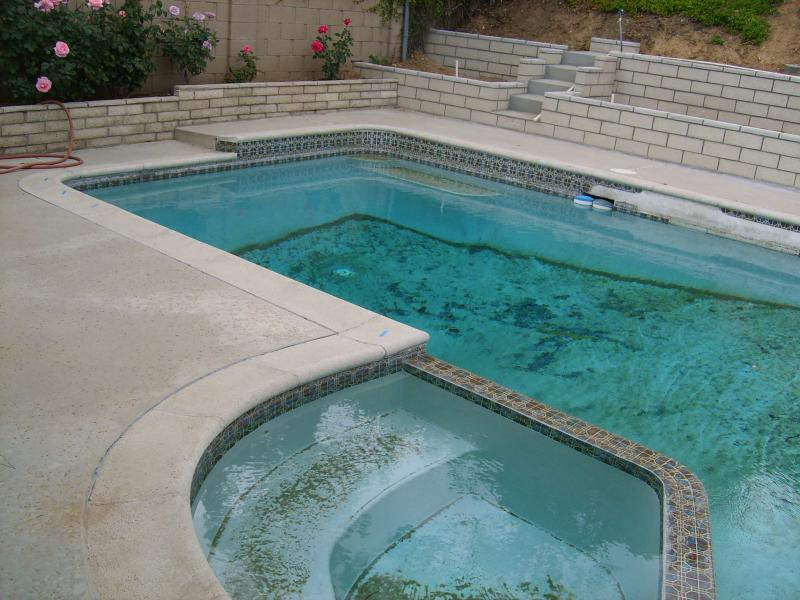 Before switch-out pool tile - Little Tile Inc - Yorba Linda,CA